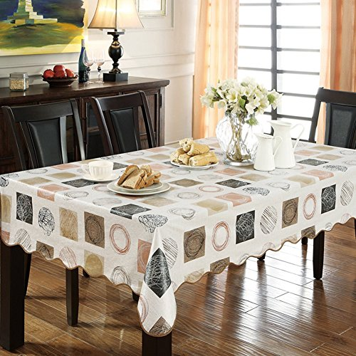 ColorBird Modern Scrawl Circles Flannel Backed PVC Tablecloth Easy Care Oilproof Table Cover for Kitchen Dinning Tabletop Decor (Rectangle/Oblong, 54'*70')