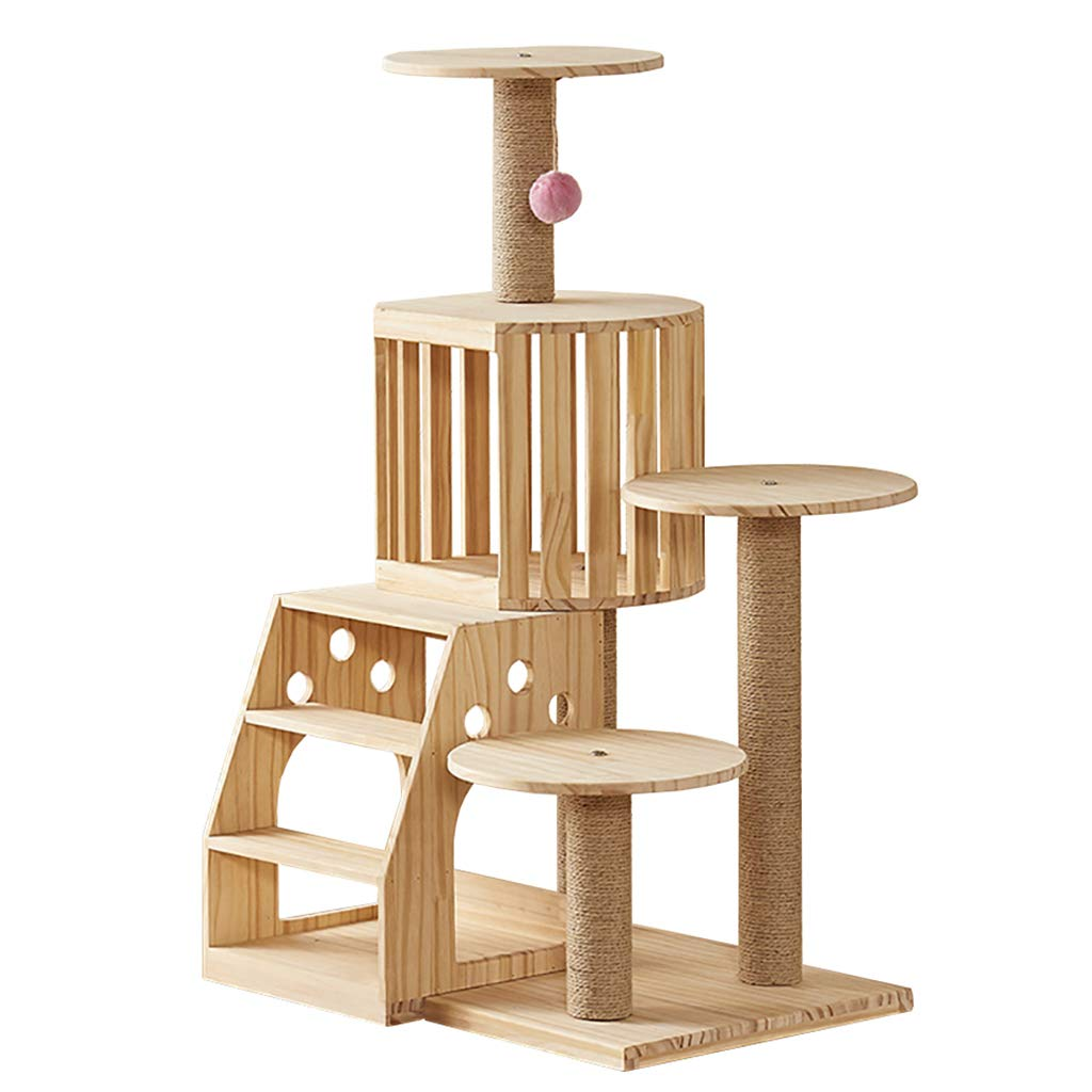QAHMPJ Cat Tree With Scratch Post, Solid Wood Cat Hole
