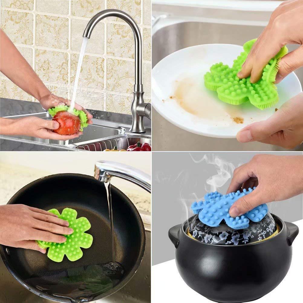Lot de 1 Eponge en Silicone brosse /à vaisselle Tapis de Nettoyage Pinceau Lavage pour Cuisine Salle de Bain