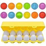 モンテッソーリ教育おもちゃ 知育玩具 マッチング卵 yh-tech 形合わせ はめ込みパズル イースターマッチングエッグ 12個 幼児 おもちゃ 1歳 2歳 3歳 6カラー&12種類果物