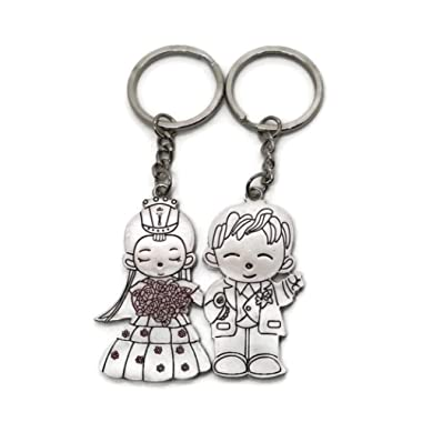 Couple Cute Bride and Groom Silver Alloy Keyring Lovely Wedding Ceremony Memory Keychains