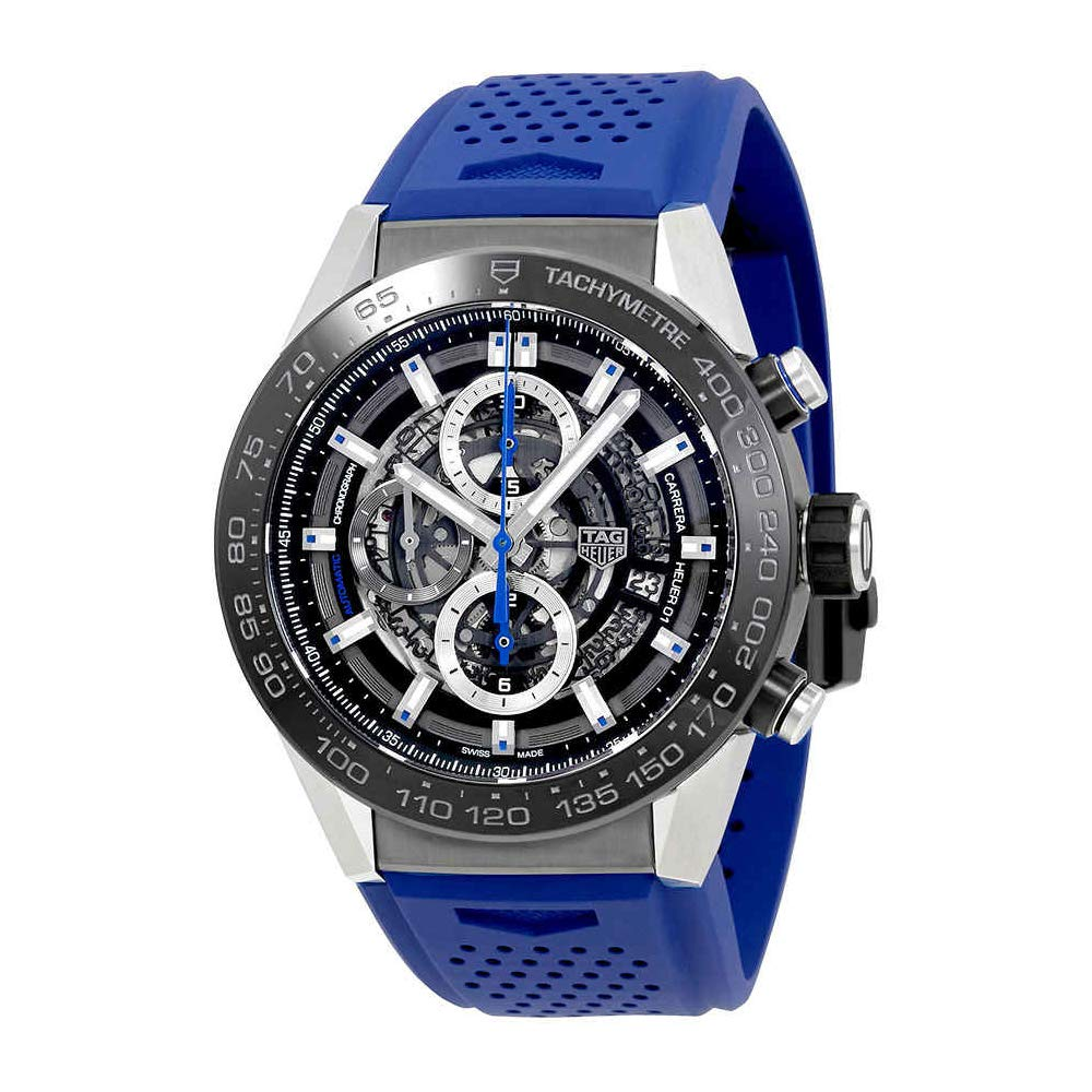 Tag Heuer Carrera Chronograph Automatic Men's Watch, Skeleton Watches, Blue Strap, Tachymetre, Automatic Watch