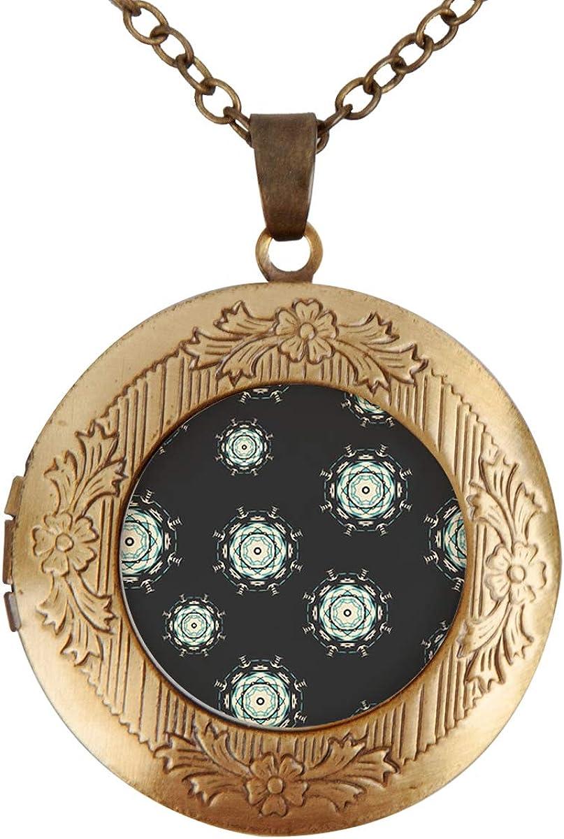 Fangship Elegant Purple Mandala Personalized Custom Photo Pendant Necklace with Adjustable Length Cable Chain Best Gift Set