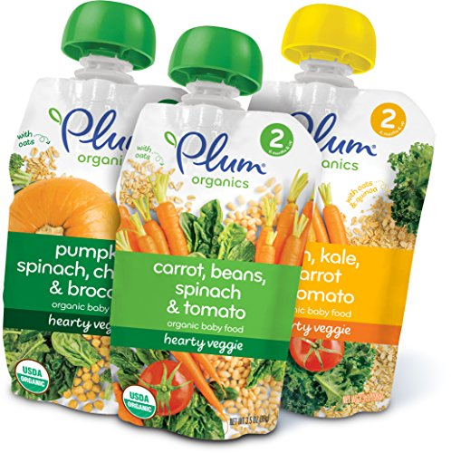 Plum Organics Hearty Veggie, Organic Baby Food, Variety Pack, 3.5 ounce pouch (Pack of 18) ( Packaging May Vary )