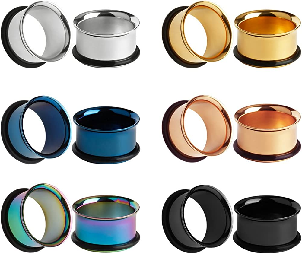 KUBOOZ 12pcs Set Colorful Stainless Steel O-Ring Ear Plugs Tunnels Gauges Stretcher Piercings