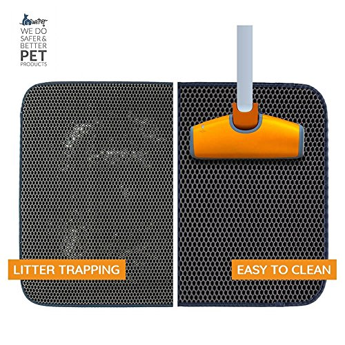 WePet 2-Layer Honeycomb Large Cat Litter Mat Premium Kitty Box Trapping Sifting Pads Waterproof Urine Repellent Scatter Activity Play Scratching/Nap to Keep Floor Corner Carpet clean Best for Grumpy by WePet (Image #3)