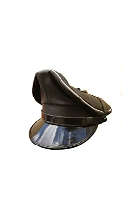 e1132fd6e8b2af Cowhide Black Leather with White Trim MUIR,Police,Army,Biker,Gay Cap:  Amazon.co.uk: Clothing