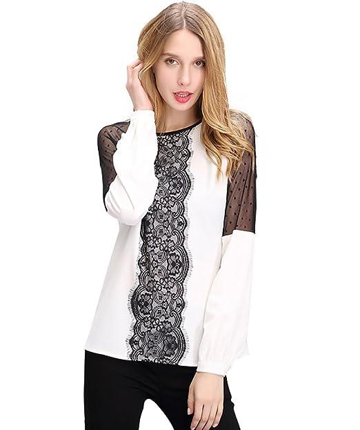 NiSeng Tops de Mangas Largas Gasa Elegantes Blusas Ocasional Camiseta de Encaje Hollow Out Camisetas Mujeres