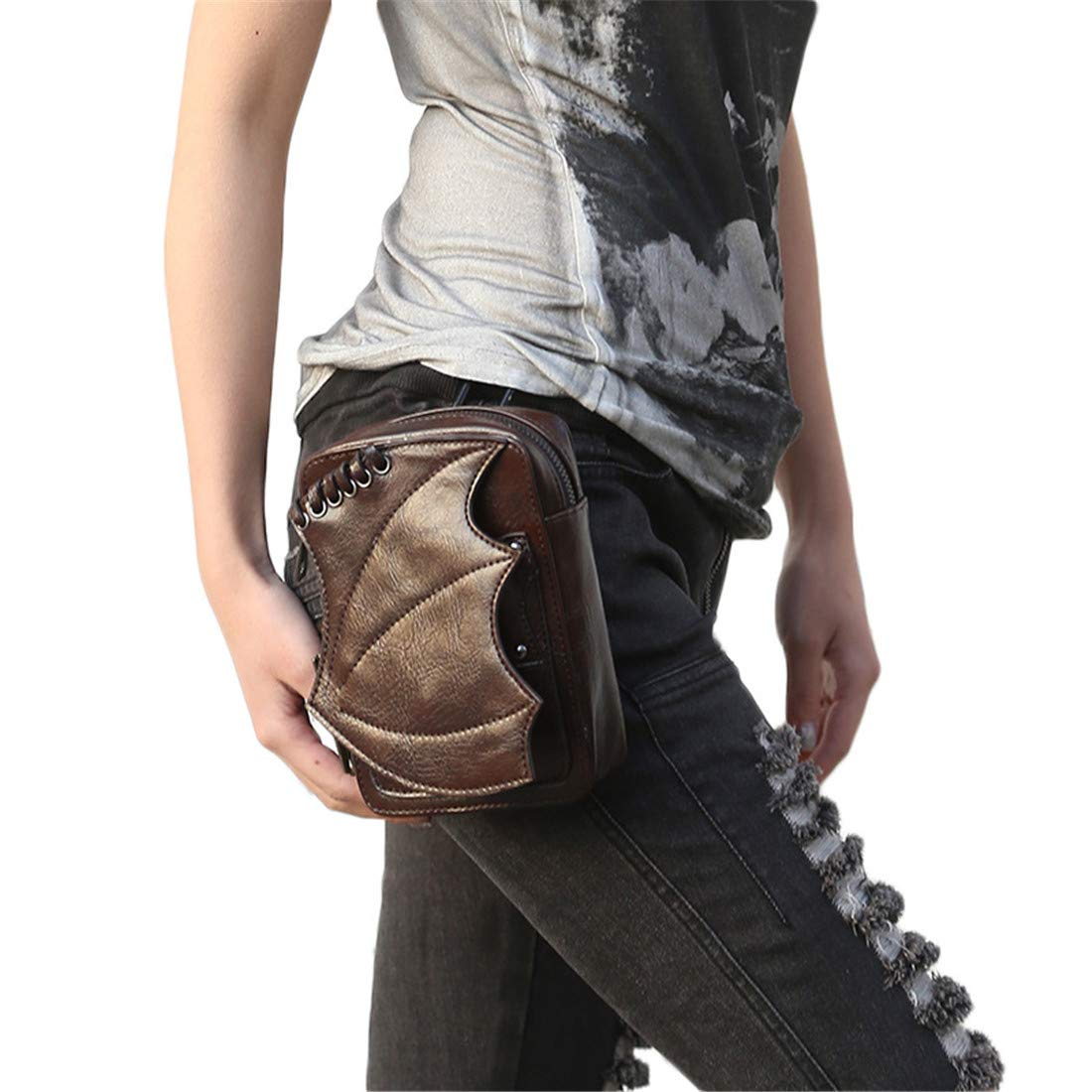 Qhome Brown Bat Victorian Retro Shoulder Waist Bags Steampunk Goth PU Leather Leg Thigh Holster Bags