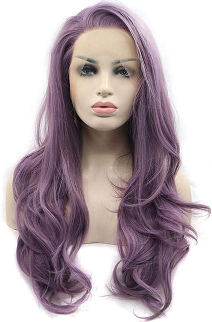 Cradifisho - Peluca de encaje para Halloween, color morado, con brazaletes y pelucas de cosplay, color lila (24 pulgadas): Amazon.es: Belleza