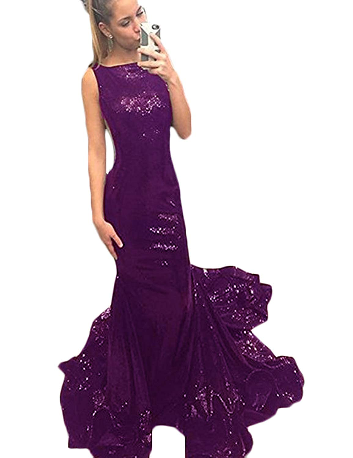 Purple A CIRCLEWLD Backless Sequins Long Sleeves Formal Evening Dresses Train Elegant Prom Gala Gown E185