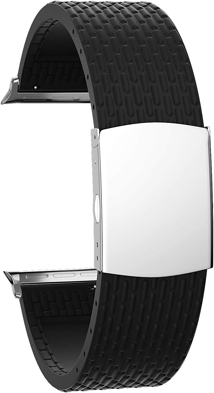 SOUWILA Compatible with Silicone Apple Watch Strap 38mm 40mm 42mm 44mm iWatch Series 6/5/4/3/2/1 Rubber Watch Band with Stainless Steel Deployment Buckle (42mm, Black-Silver)