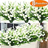 8 Bundles Artificial Flowers Outdoor UV Resistant Plants, Faux Plastic Daffodils Greenery Shrubs Plants Artificial Fake Flowers Outside Indoor Hanging Planter Home Kitchen Office Wedding Garden Decor