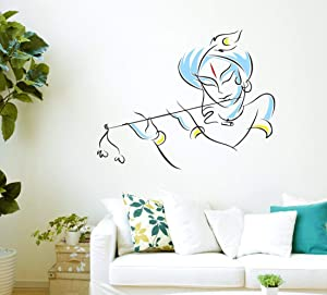 HandmadeJewel Vinyl Removable/Easy to Peel/Easy to Stick/Safe on Painted Walls Multicolor Lord Krishna Wall Stickers/Wall Decals Room Home Décor