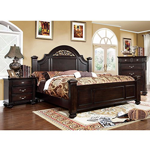 Furniture of America Grande 2-Piece Dark Walnut Bed with Nightstand Set California King