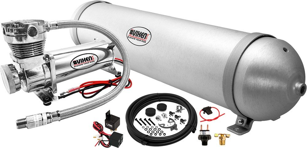 Vixen Air 1//2 NPT Single Air Port Suspension Air Spring//Air Bag Dual Pack with Fittings Schrader Valves and 20FT Hose VXD2614S
