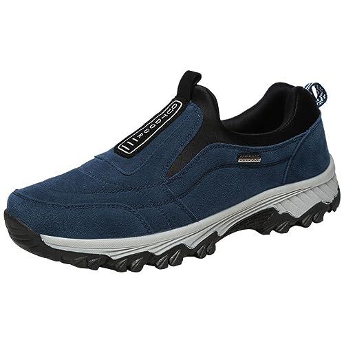 wealsex Mocassins Baskets Basse sans Lacets Sport Running Marche Outdoor Sneaker Chaussures Randonnée Daim Confort Respirant Homme