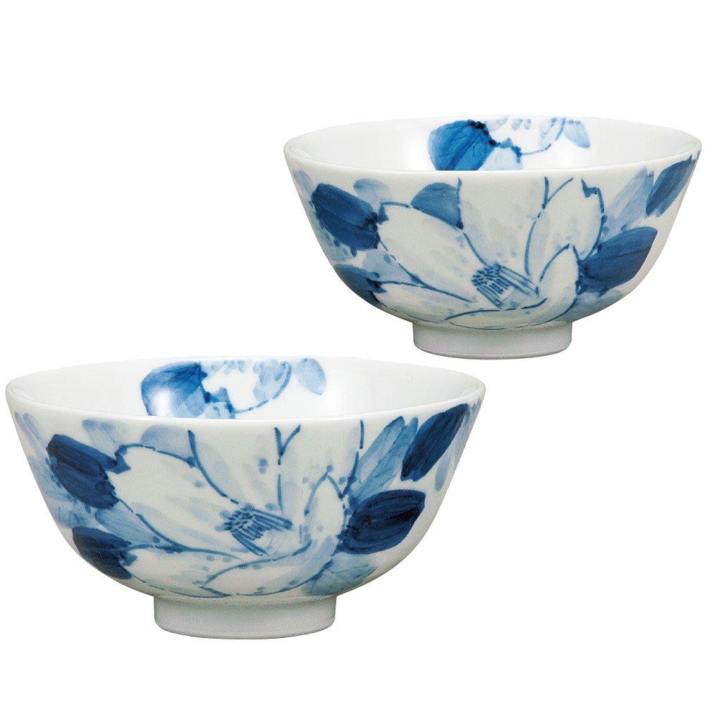 Kutani Yaki(ware) Japanese Pair Rice Bowl Camellia