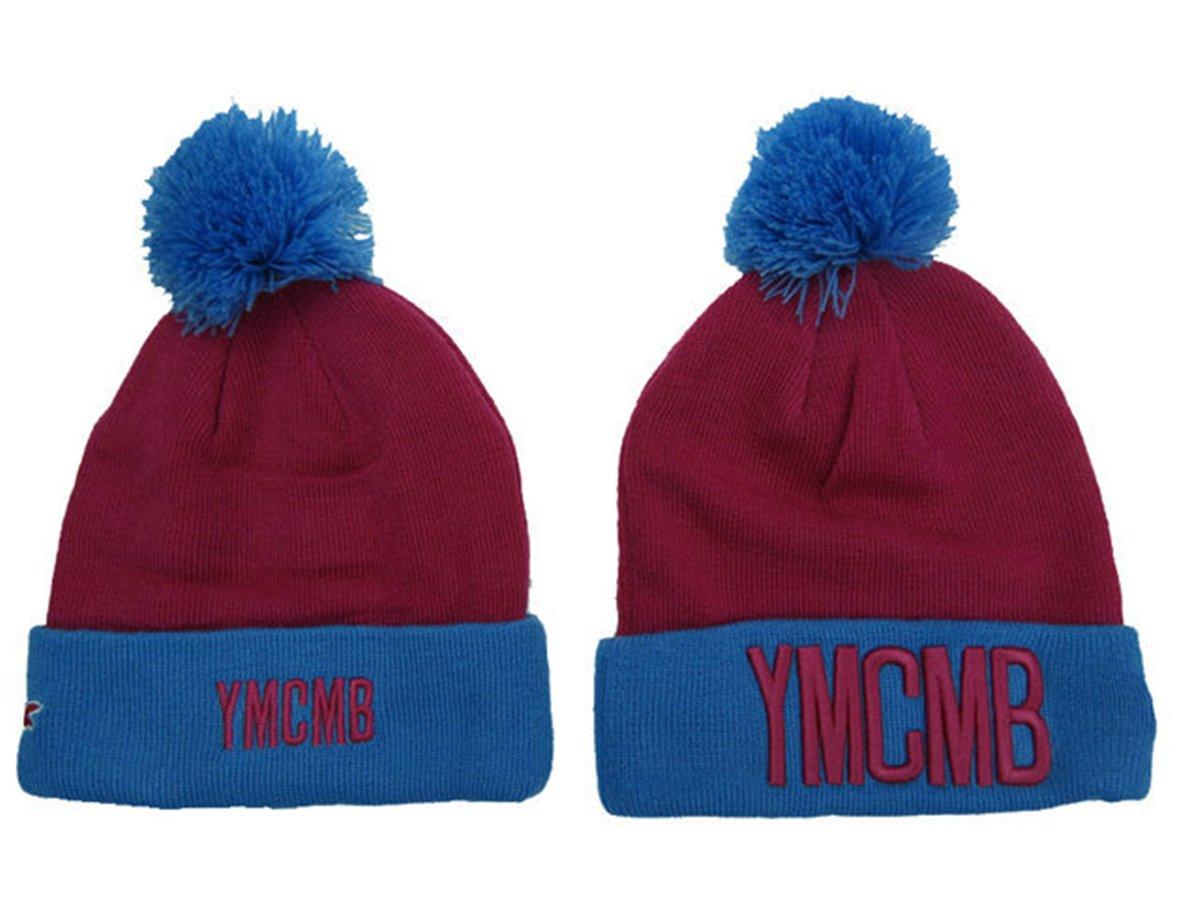 YMCMB Beanie Sombreros/gorros (Vino Rojo con logo de color rojo ...