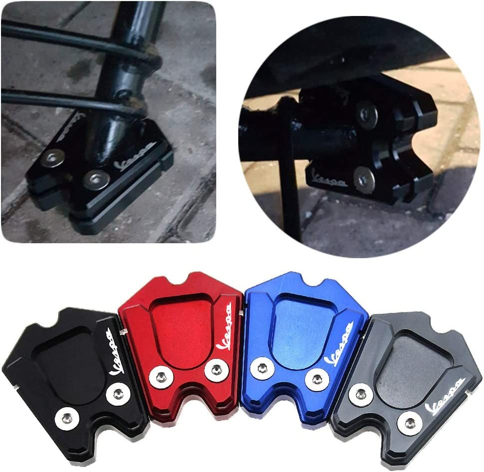 Color : Black MUJUN For Vespa GTS GTV 3Vie Motorcycle Kickstand Extension Plate Foot Side Stand Enlarge Pad