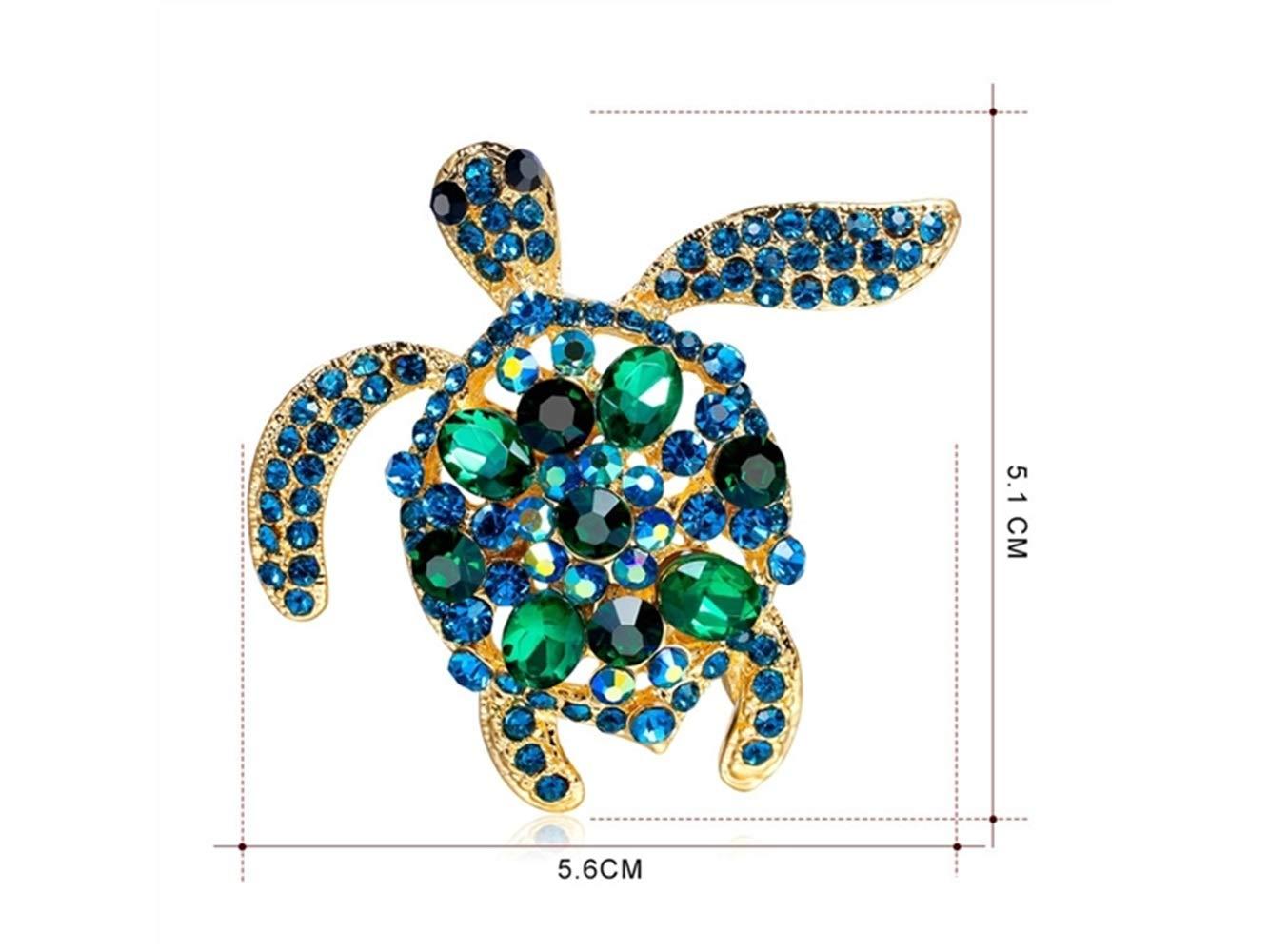 Yunqir Cute Sea Turtle Brooch Crystal Brooch Wedding Scarves Corsage Decoration for Women Birthday Gift (Blue) (Color : Blue, Size : 5.6x5.1cm)