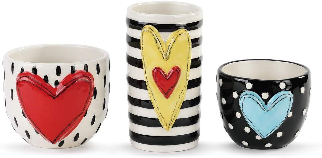 DEMDACO Heart Stripe Dot Black and White 5 x 4 Glossy Ceramic Stoneware Vases Set of 3