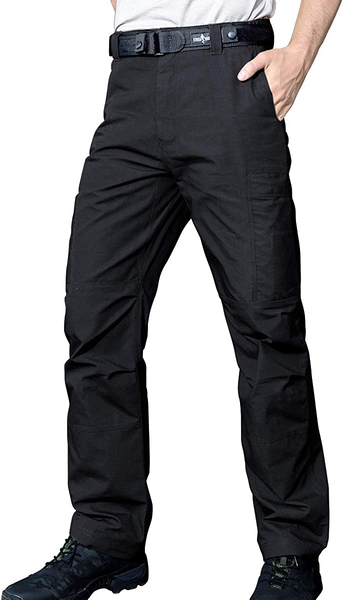 FREE SOLDIER Men's Waterproof Tactical Cargo Pants Lightweight Ripstop Hiking Work Pants with Pockets (Black,34W/30L)