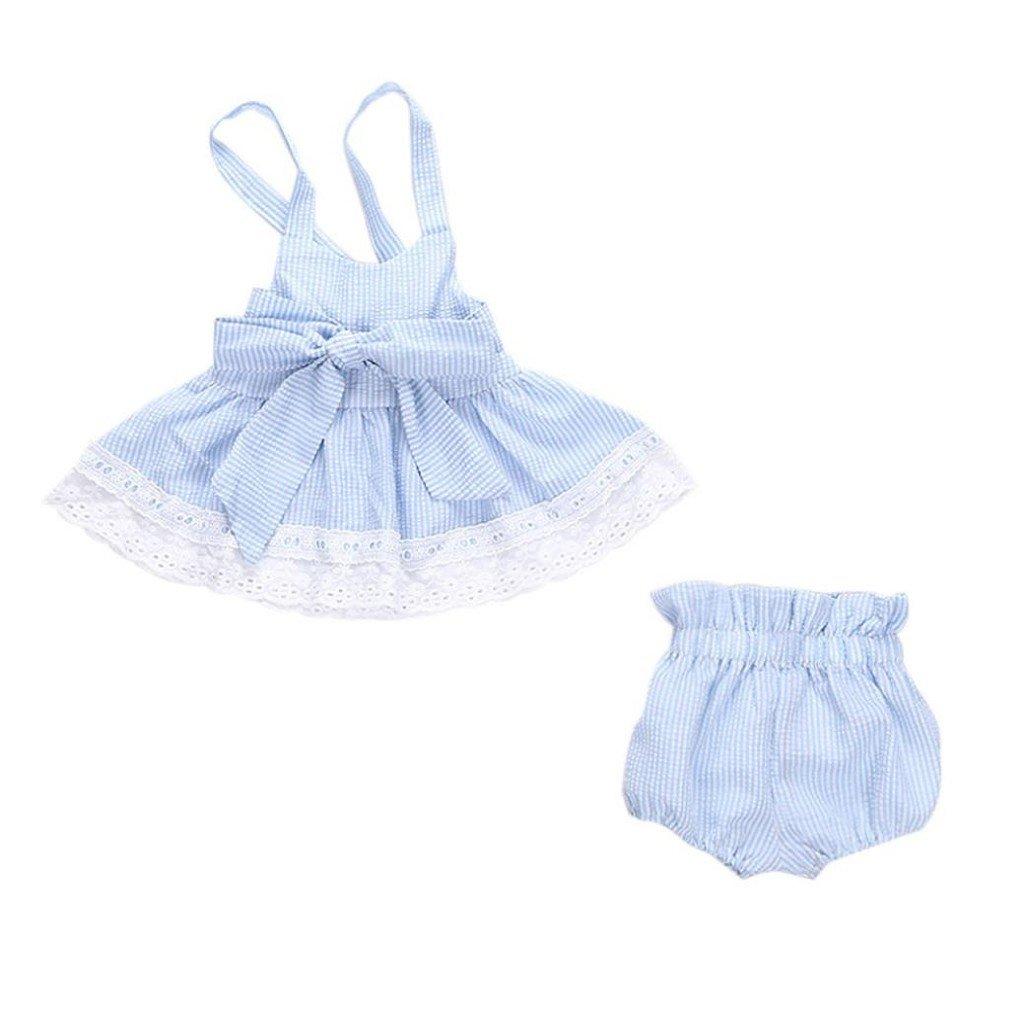 Tefamore Baby Girls Bowknot T-Shirt& Shorts& Headband Outfits Set