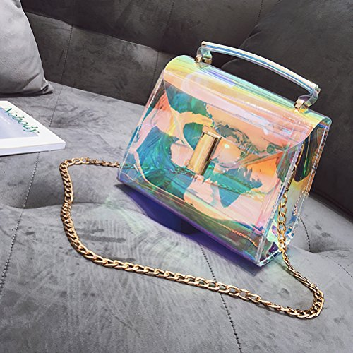 Holographic Transparent Shoulder Handbag Bag Chains Style Body Shining Ladies 1 Bag with Cross 5CSqSxd