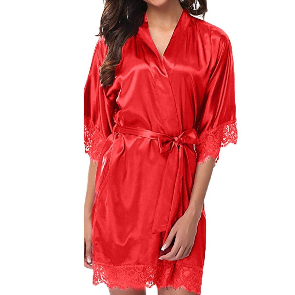 Sixcup Womens Silk Kimono Dressing Gowns Robes Lady Satin V-Neck Nightdress Pure Colour Short Lace Hem Nightwear Lingerie Pajamas Suit