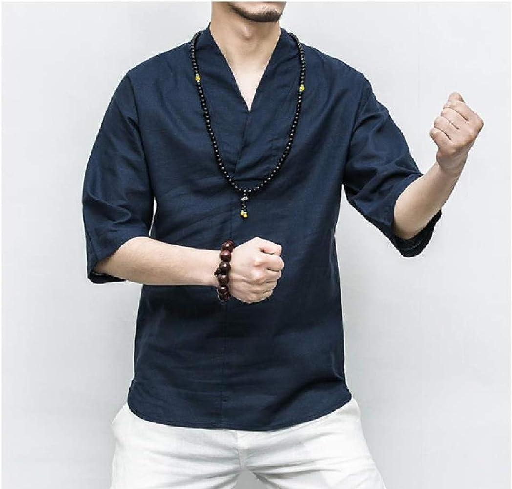 Andopa Vestido de la manga camisetas Top V cuello corto retro camisas color puro para Hombres Azul oscuro Pequeño: Amazon.es: Ropa y accesorios