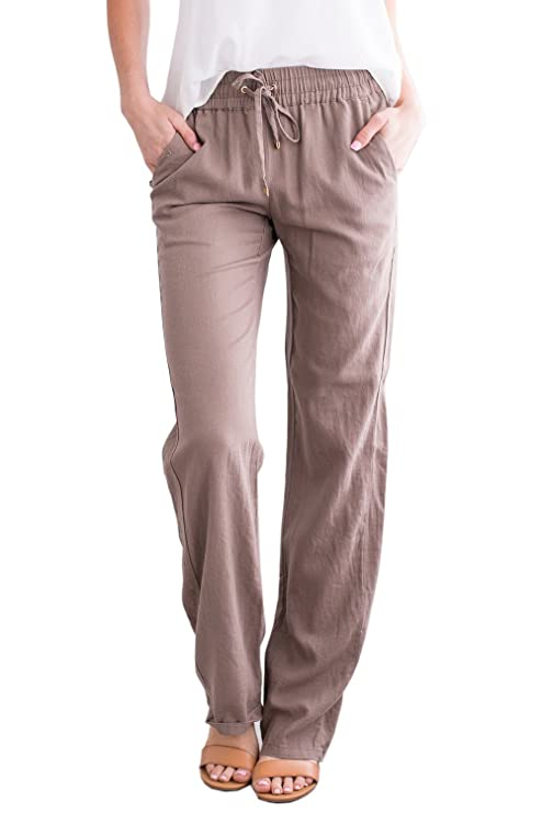 Geckatte Womens Casual Linen Pants Comfy Elastic Waist Drawstring Loose Long Pants With Pockets by Geckatte
