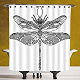 Durable Shower Curtain 3.0 [Dragonfly,Artistic Baroque Patterned Ornamental Dragonfly Figure Old Fashion Bug Design,Black White] Fabric Shower Curtain