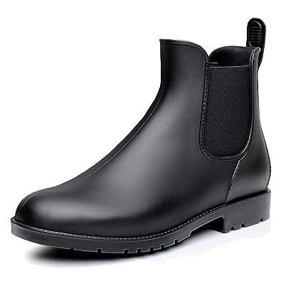 fereshte Women s Short Ankle Rain Boots Waterproof Rubber Chelsea Booties  Black ... 194195e935