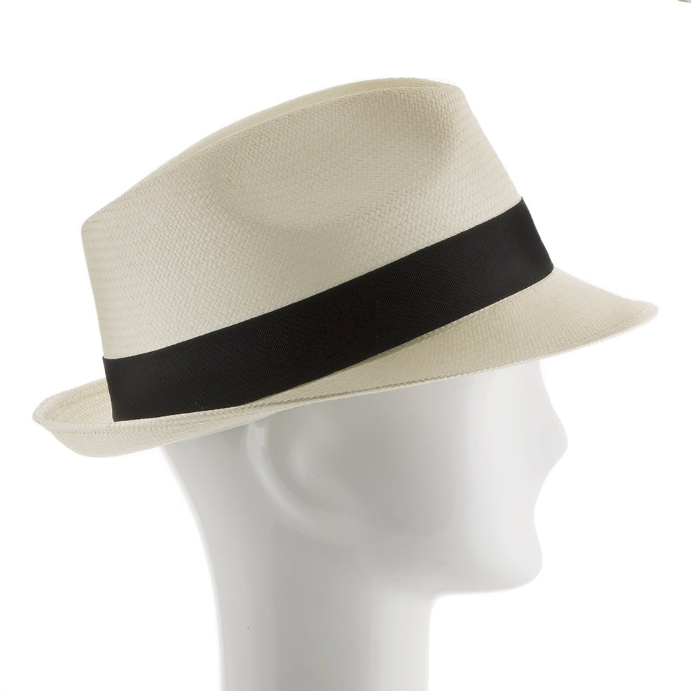 6f479d196ce Classico Trilby Snap Brim Fedora Straw Panama Hat Handwoven in Ecuador  Ivory at Amazon Men s Clothing store