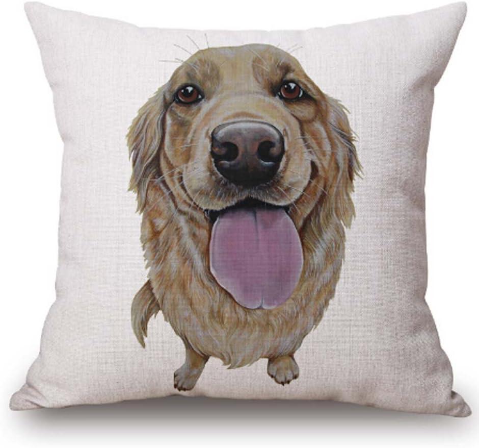 FELENIW Animal Pet Dog Golden Retriever YorkshireTerrier Throw Pillow Cover Cushion Case Cotton Linen Material Decorative 18 Square