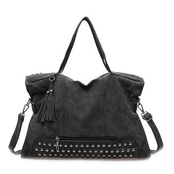 c69b90d38e Vintage Sac en cuir nubuck Rivet Tassel Femmes Messenger Bag Tote sacs  femmes Sac à bandoulière