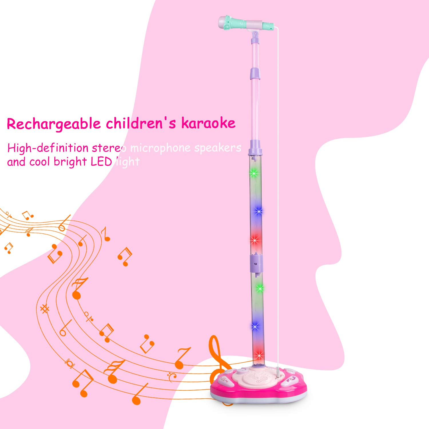 aPerfectLife Rechargeable Kids Karaoke Machine, Kids Microphone Music Toy Play Set with Microphone & Adjustable Stand, AUX Cable Connect to Electronic Devices by aPerfectLife (Image #2)