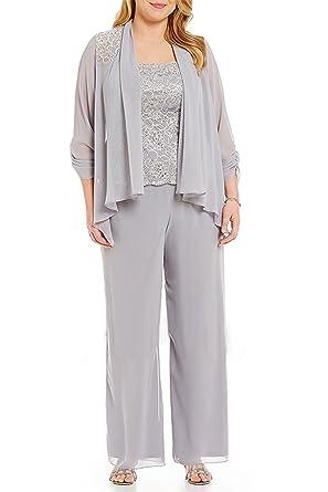 kelaixiang Mother of the Bride Pants Suits Chiffon Plus Size 3 pcs ...