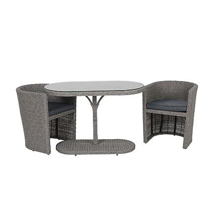 Balkonset 2 Sessel 1 Tisch Garnitur Polyrattan Sitzgruppe Outdoor anthrazit