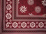 Pinwheel Print Tapestry Cotton Bedspread 90'' x 87'' Full Red