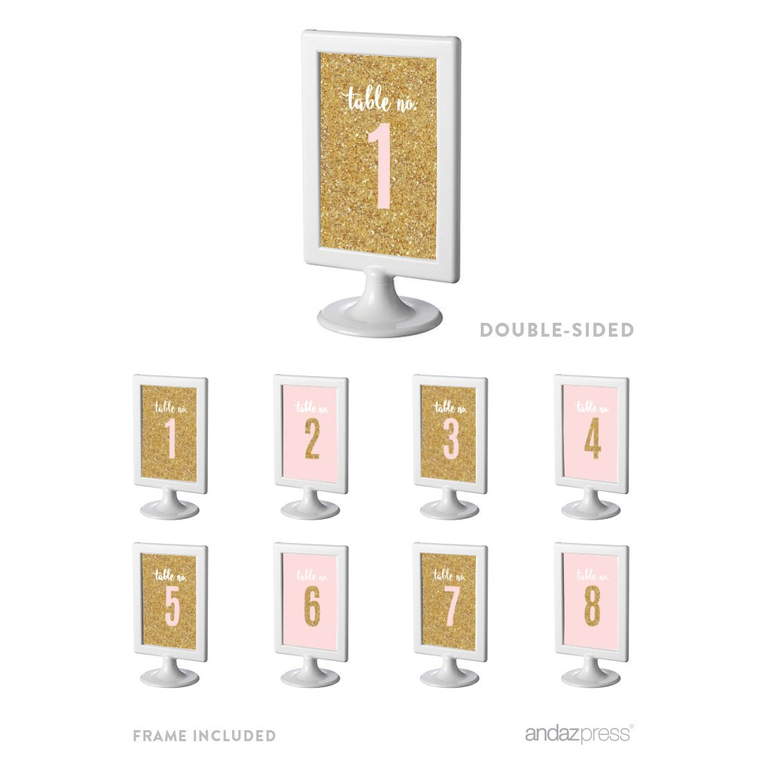Andaz Press Signature Blush Pink, White, Gold Glitter Party Collection, Framed Table Numbers 1-8, Double-Sided, 4x6-inch, 1-Set