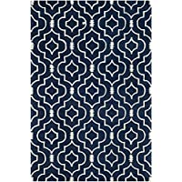 Safavieh Chatham Collection CHT736C Handmade Dark Blue and Ivory Premium Wool Area Rug (6 x 9)