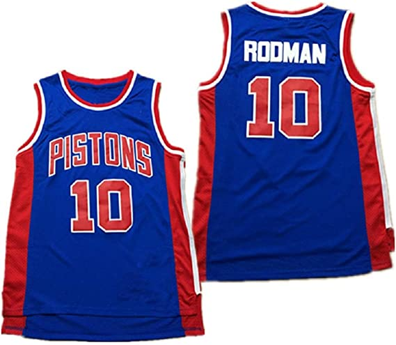 traspirante Wearable ricamate T-Shirt Ventilatori per sport allaria aperta e il tempo libero,L:180cm//75~85kg NBA Rodman # 10 Uomini Detroit Pistons classico retr/ò del pullover di pallacanestro