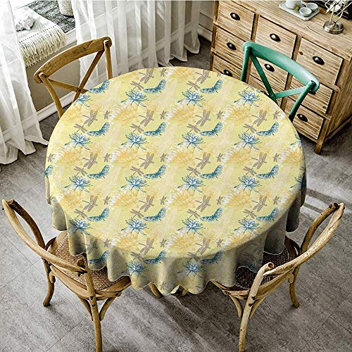 DONEECKL Oil-Proof and Leak-Proof Tablecloth Dragonfly Water Lilies and Flying Insects in Artistic Vintage Style Exotic Fauna Easy to Clean D39 Pale Yellow Blue -