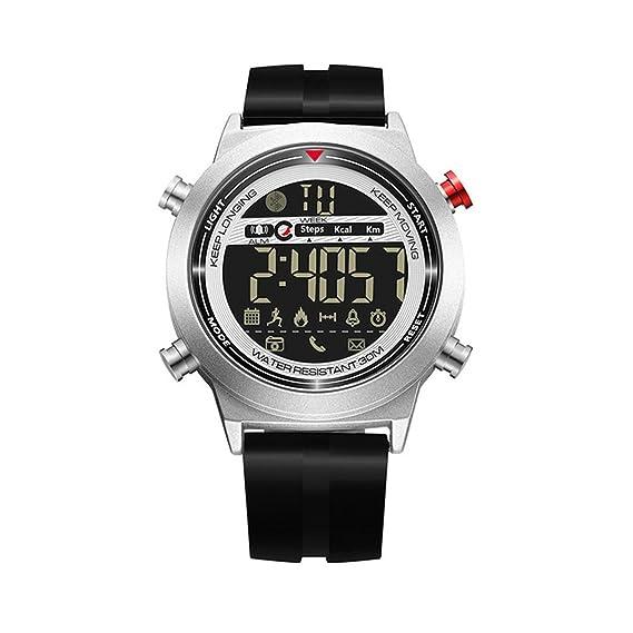 LONGQI - Reloj inteligente multifuncional para hombre con disparador remoto de dientes azules y recordatorio de llamadas: Amazon.es: Relojes