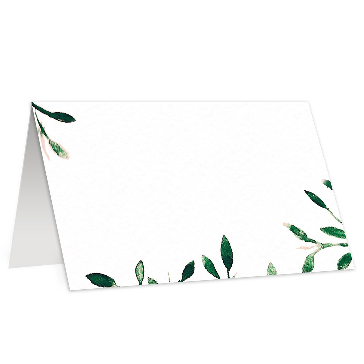 Greenery Place Cards (50 Pack) Simple Elegant Rustic Leaves Escort Cards for Wedding Catering Corporate Event Boutique Fill In Guest Name Buffet Food Sign Seat Assignment 3.5 x 2 Digibuddha
