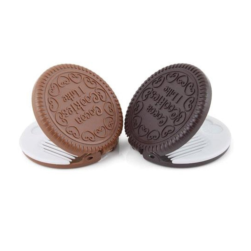 yueton Pack of 2 Mini Pocket Chocolate Cookie Compact Mirror with Comb