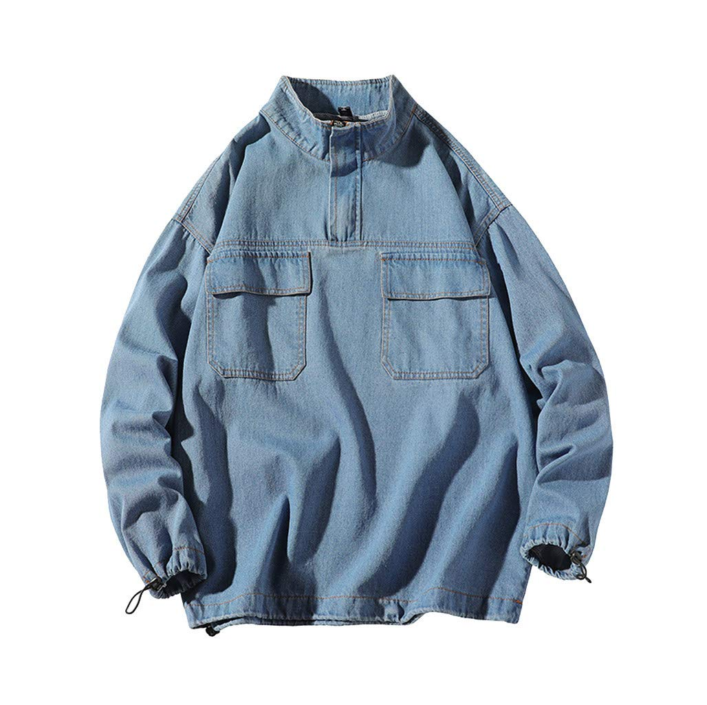 Ultramall Long Sleeve Men's Autumn Fashion Large Size Tooling Casual Jacket Denim Jacket Top Blouse by Ultramall (Image #1)