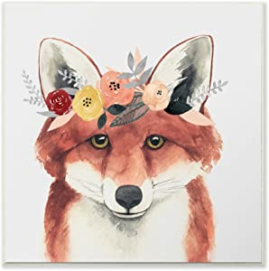 Stupell Industries Forest Fox in Flower Crown Wall Plaque, 12 x 12, Multi-Color